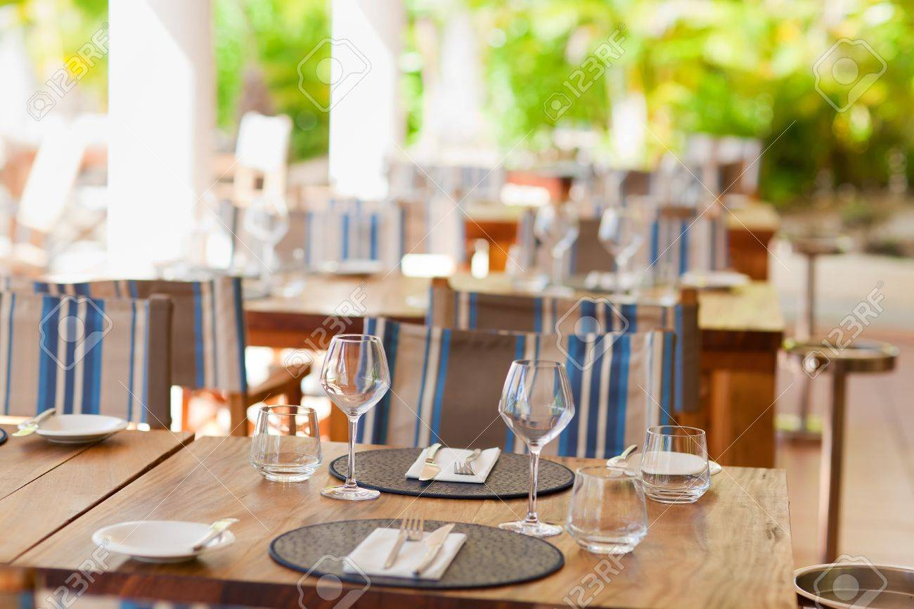 Casual dinner table setting - Closeup Of Table Setting In Casual Restaurant Stock Photo 17693155