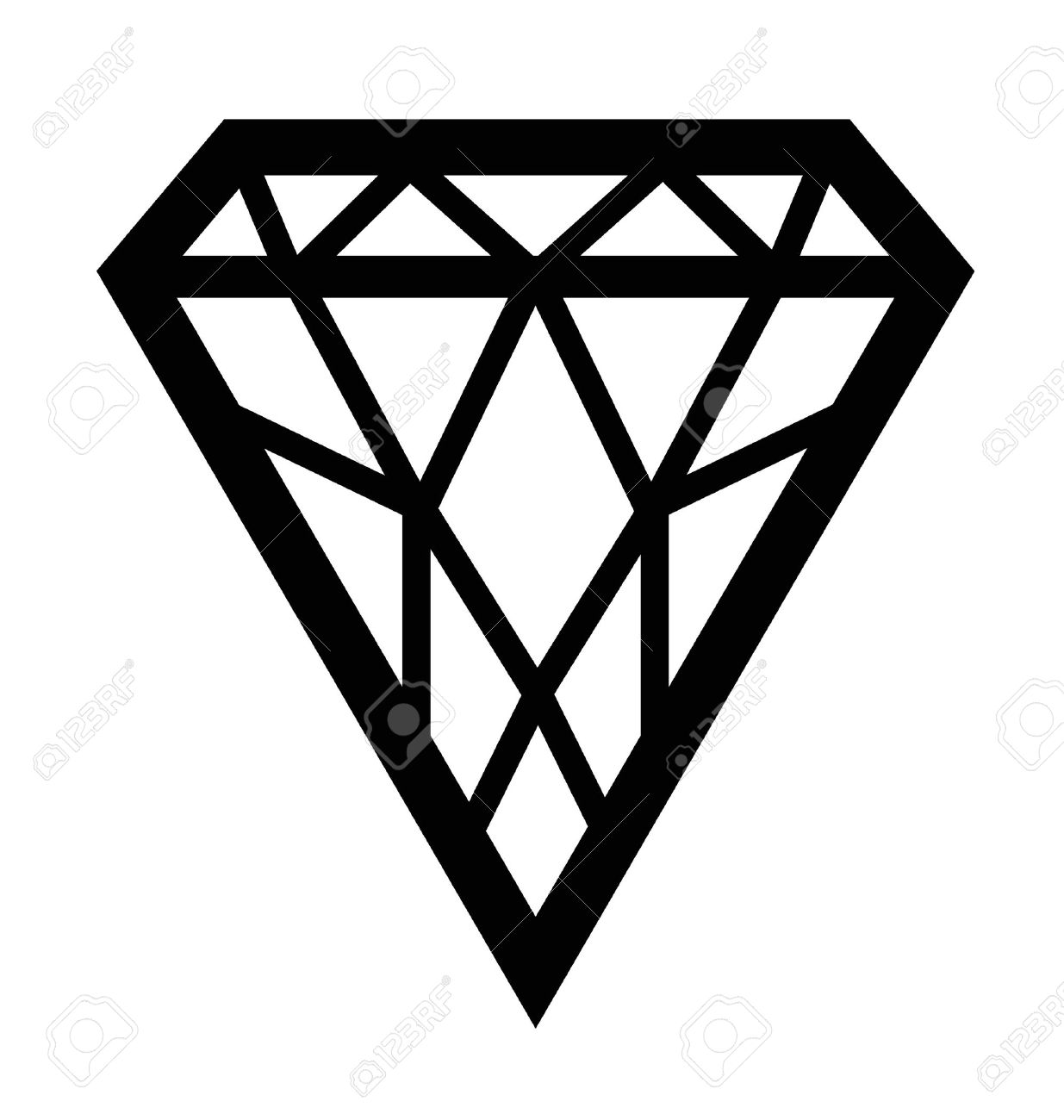 black silhouetted diamond shape with facets isolated on white