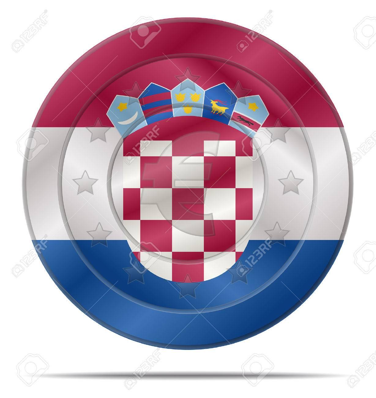 Entwurf Einer Euro Münze Mit Dem Kroatien Flagge Lizenzfrei Nutzbare