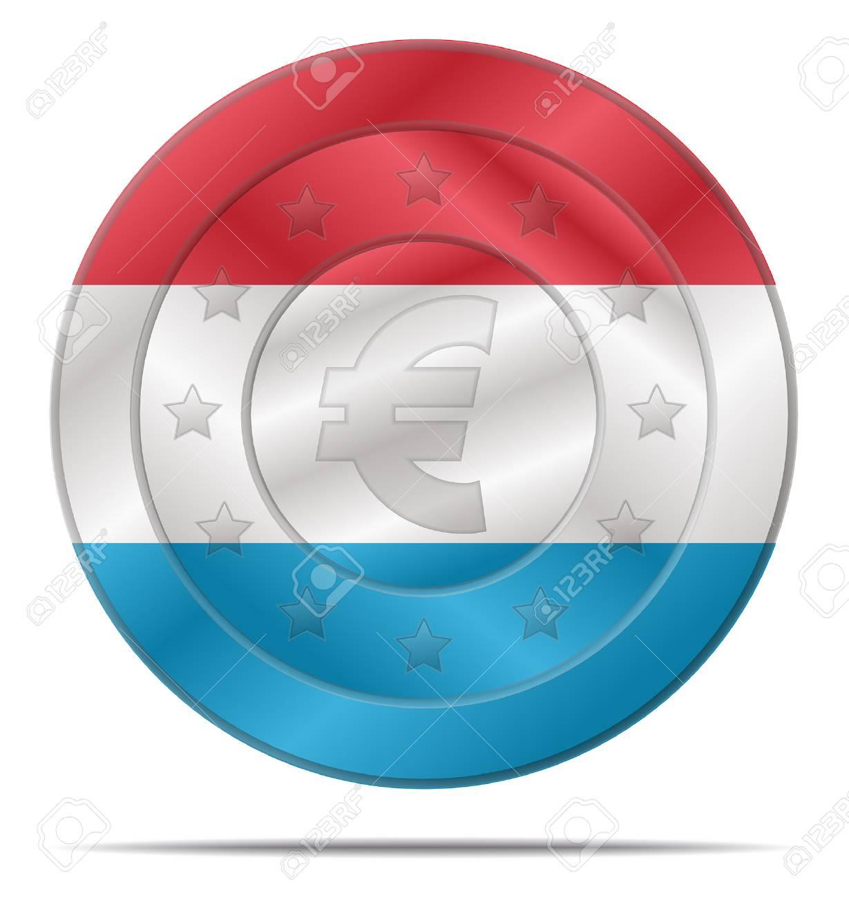 ルクセンブルクの国旗にユーロ硬...