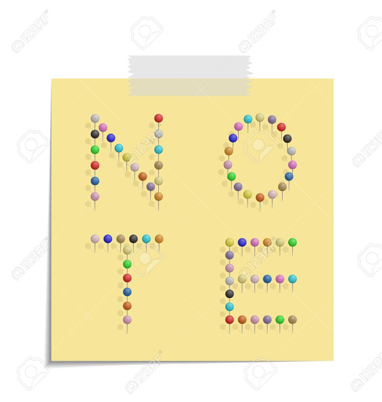 Design Of A Post With Push Pins Forming The Word Note Royalty Free ...