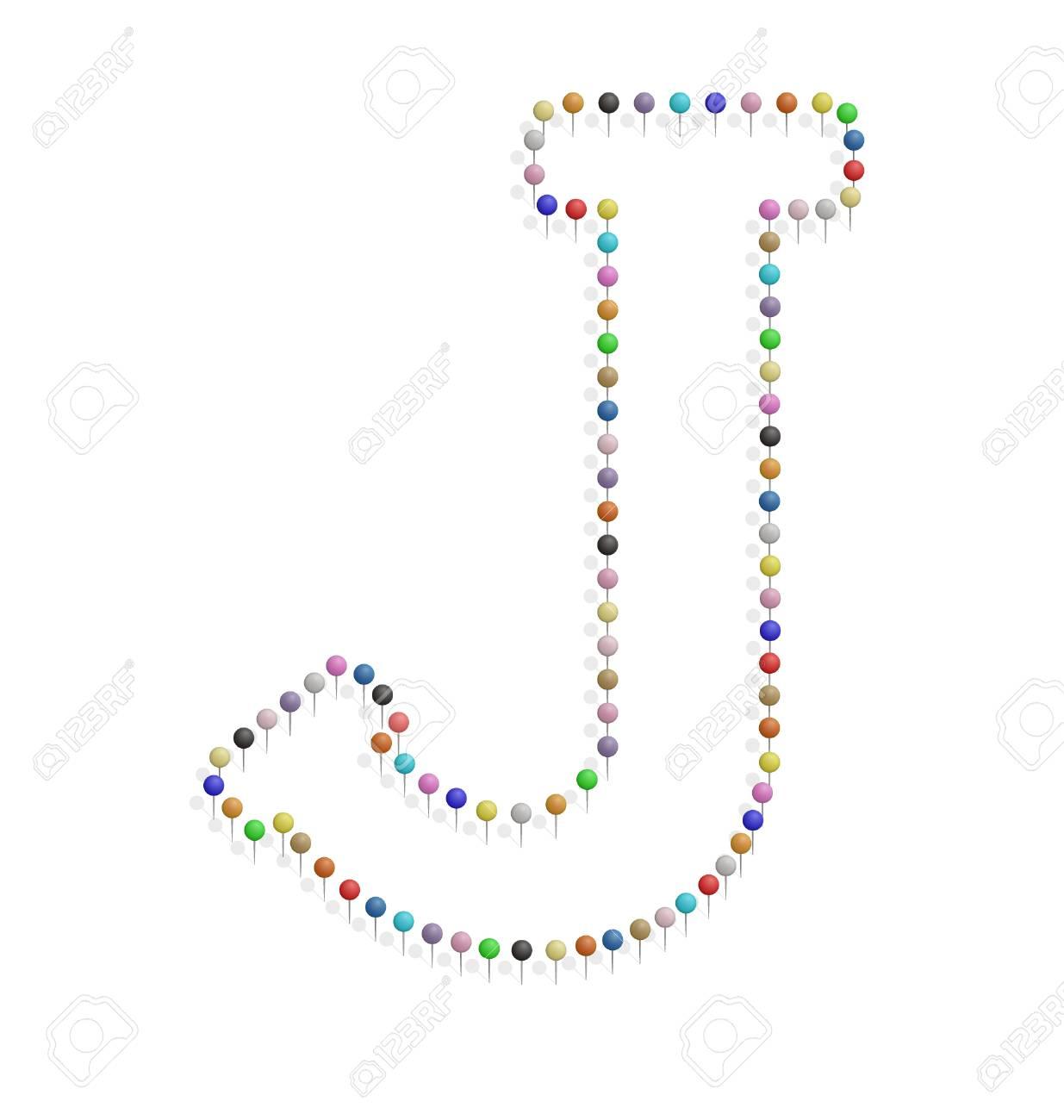 プッシュピンで作成した J レターのイラストのイラスト素材ベクタ