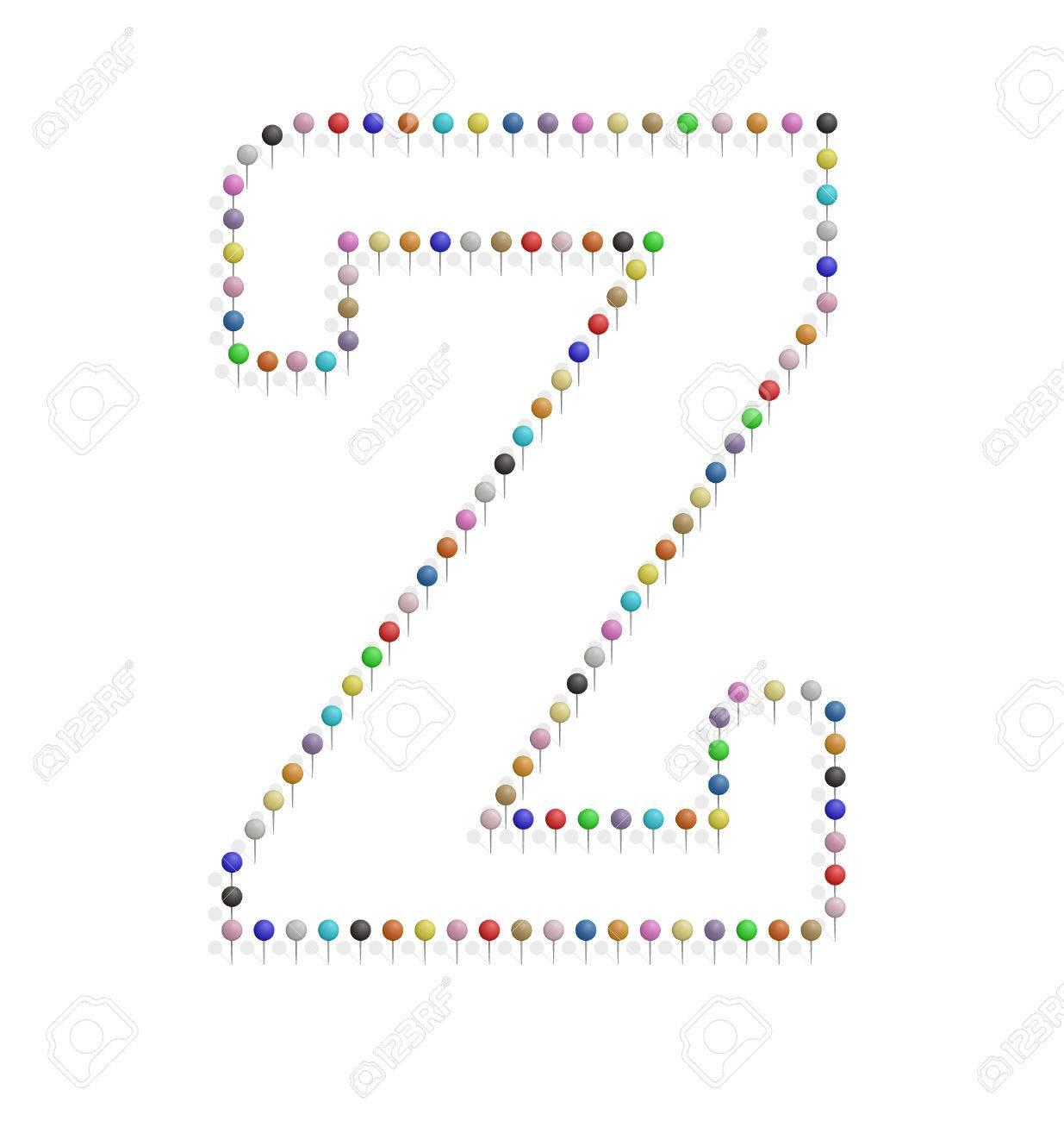 プッシュピンで作成した Z レターのイラストのイラスト素材ベクタ