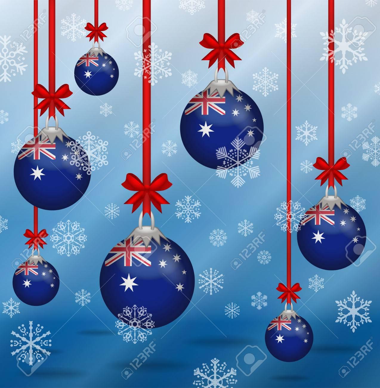 Christmas In Australia Background.Ilustration Christmas Background Flags Australia