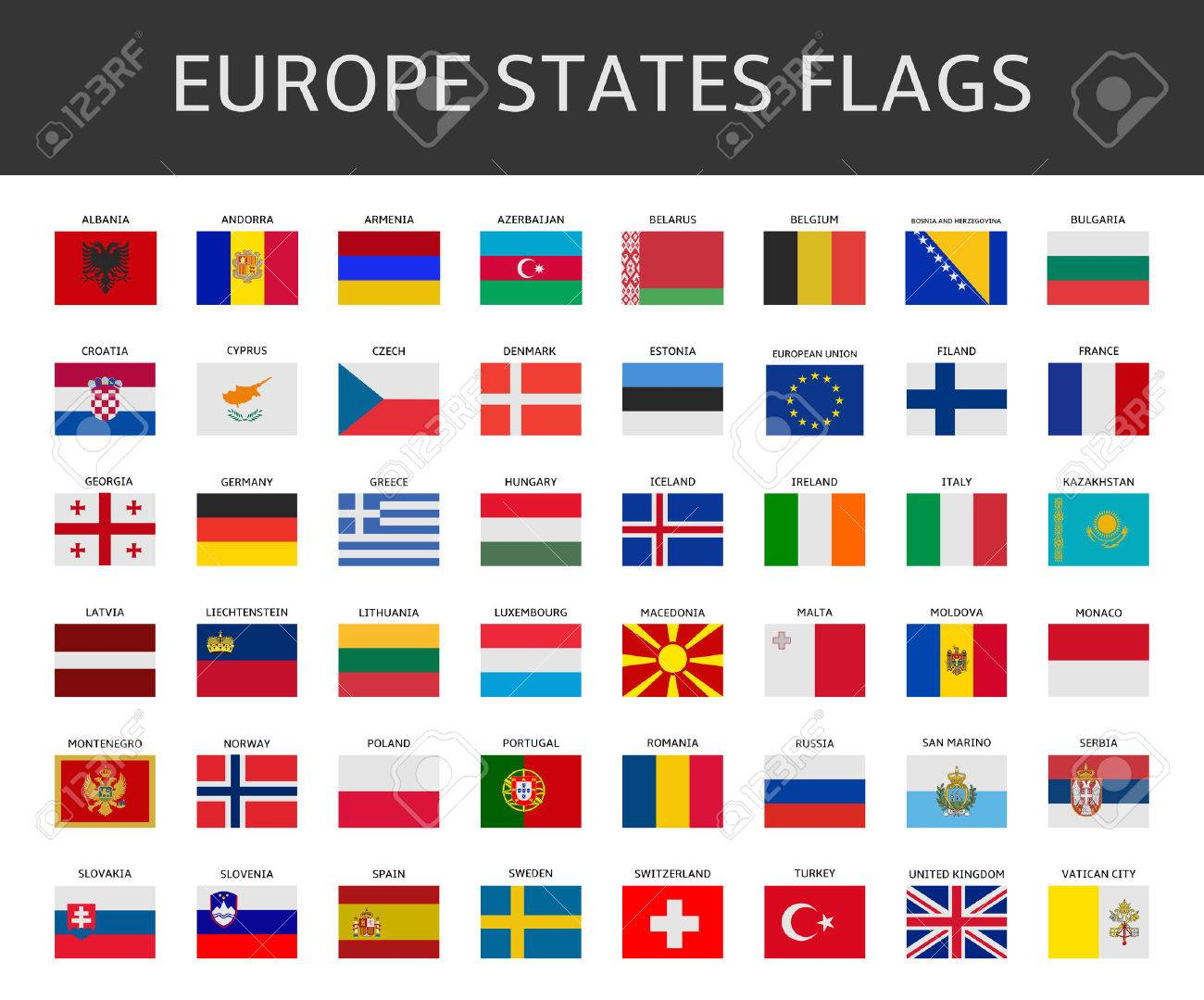 flag of europe states vector set - 36647268