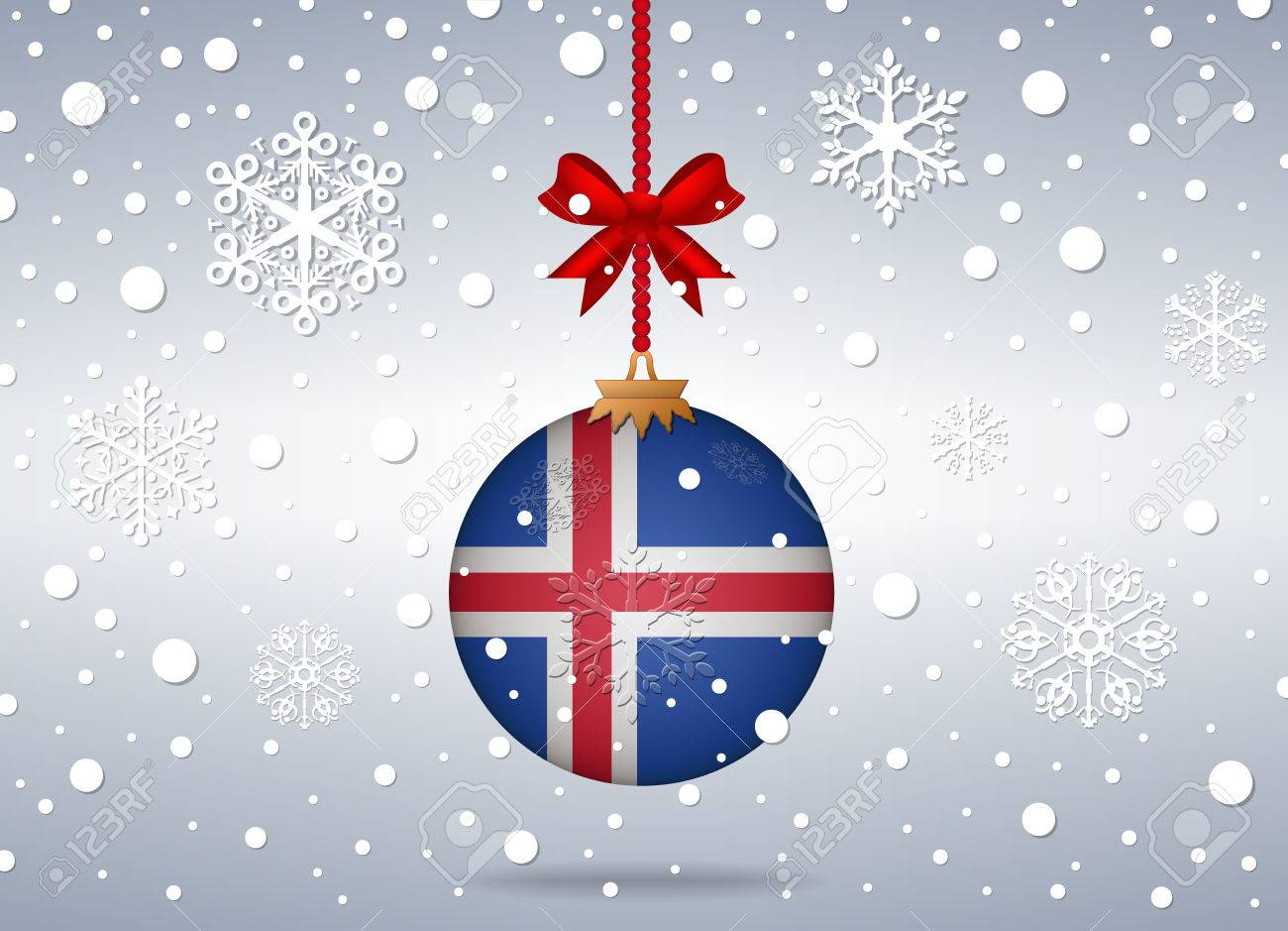 Christmas Background With Iceland Flag Ball Royalty Free Cliparts ...