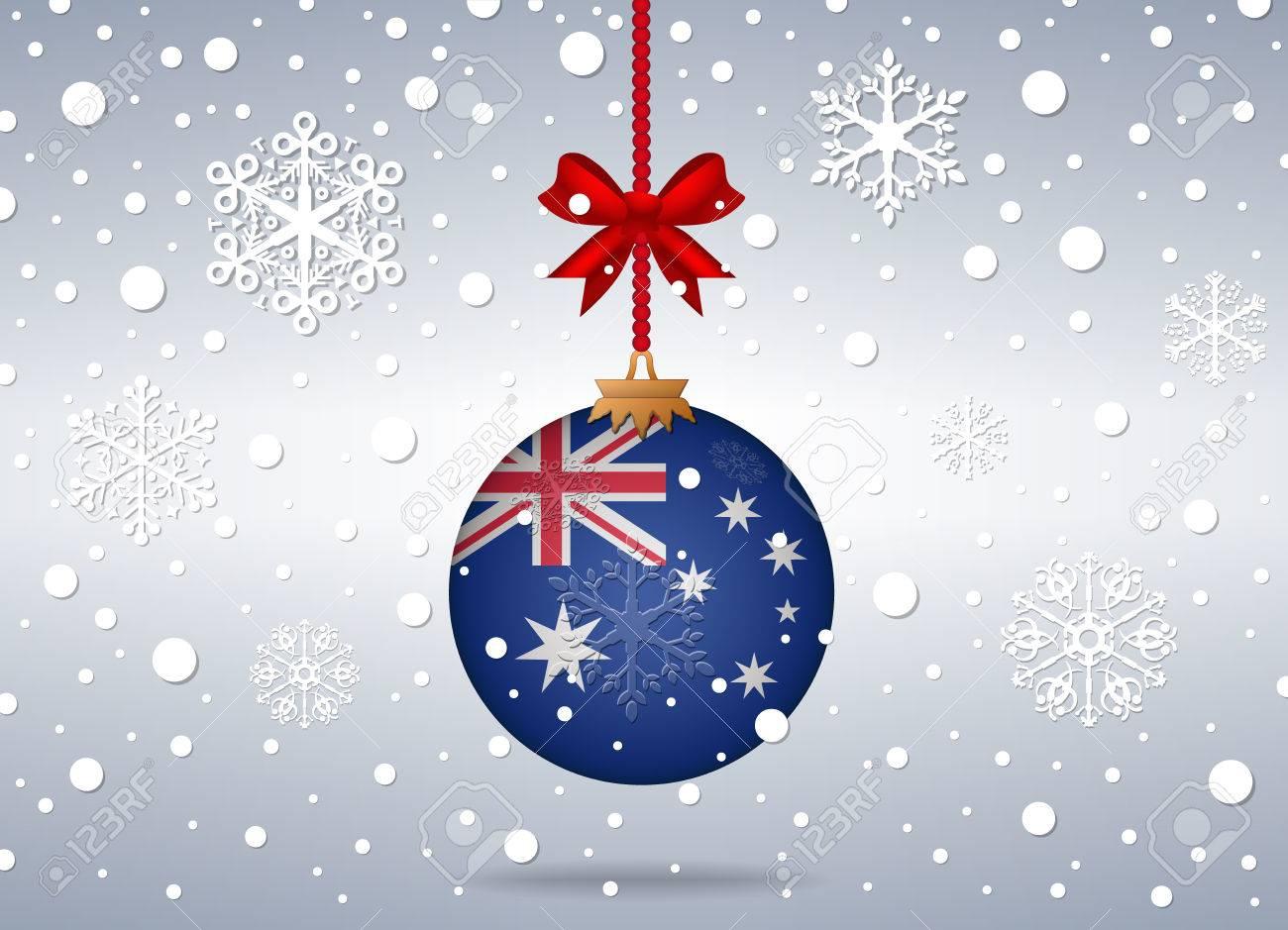 Christmas In Australia Background.Christmas Background With Australia Flag Ball
