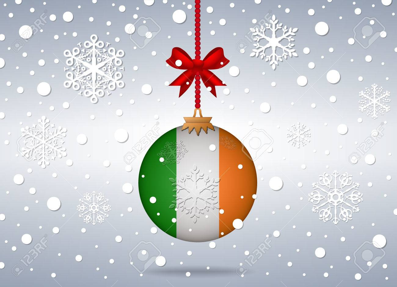 Christmas Background With Ireland Flag Ball Royalty Free Cliparts ...