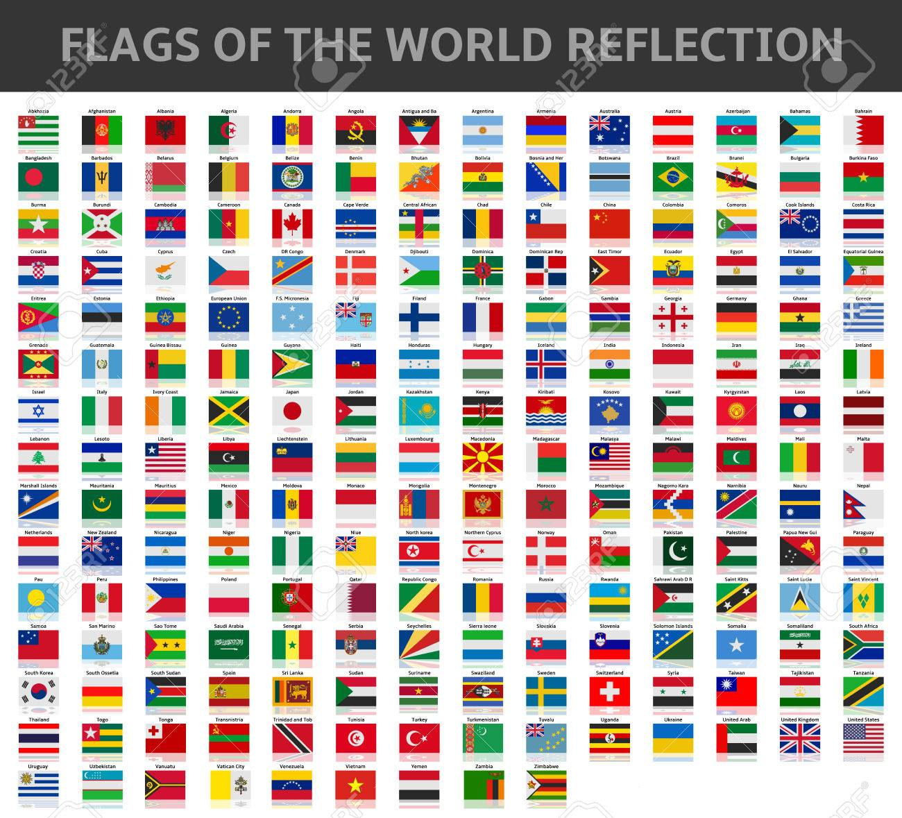 flags of the world reflection - 42138261