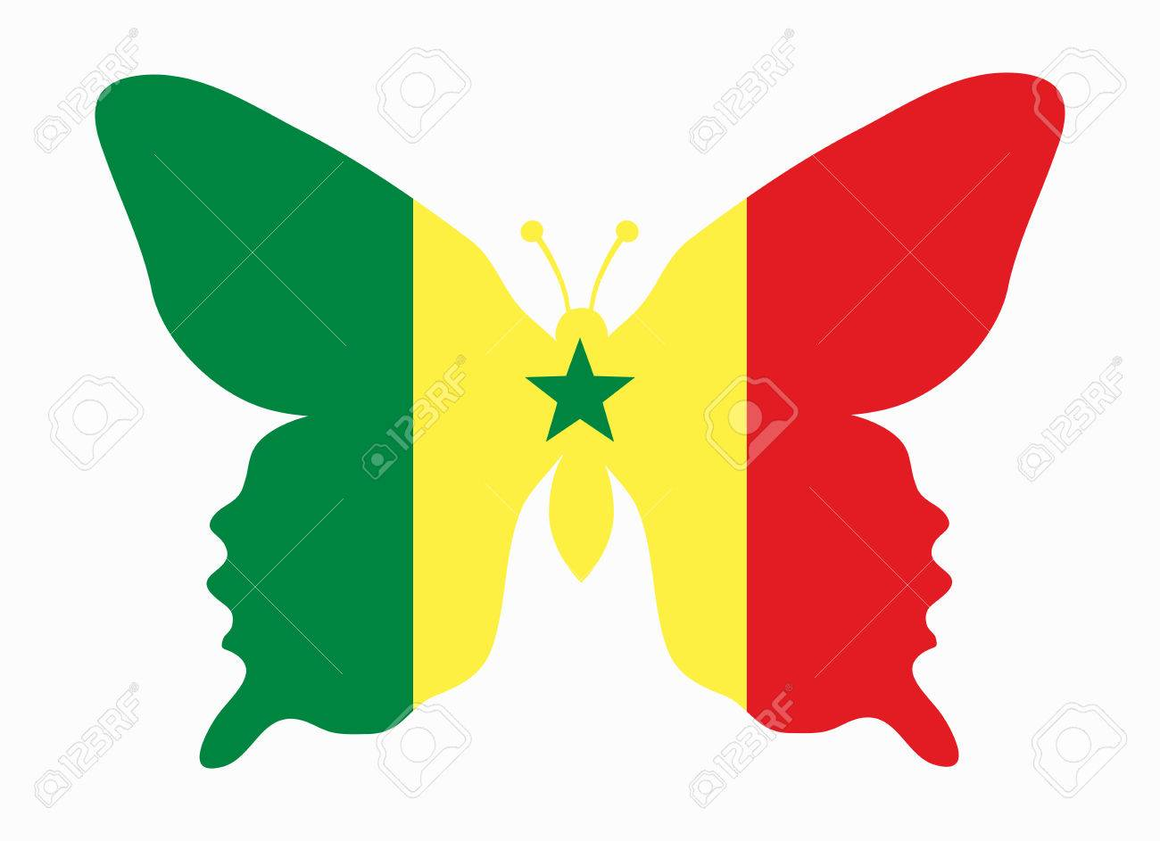 senegal flag butterfly royalty free cliparts vectors and stock