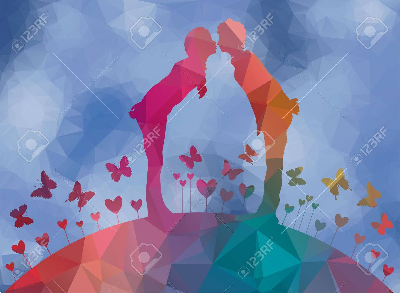 low poly background first kiss - 45476936