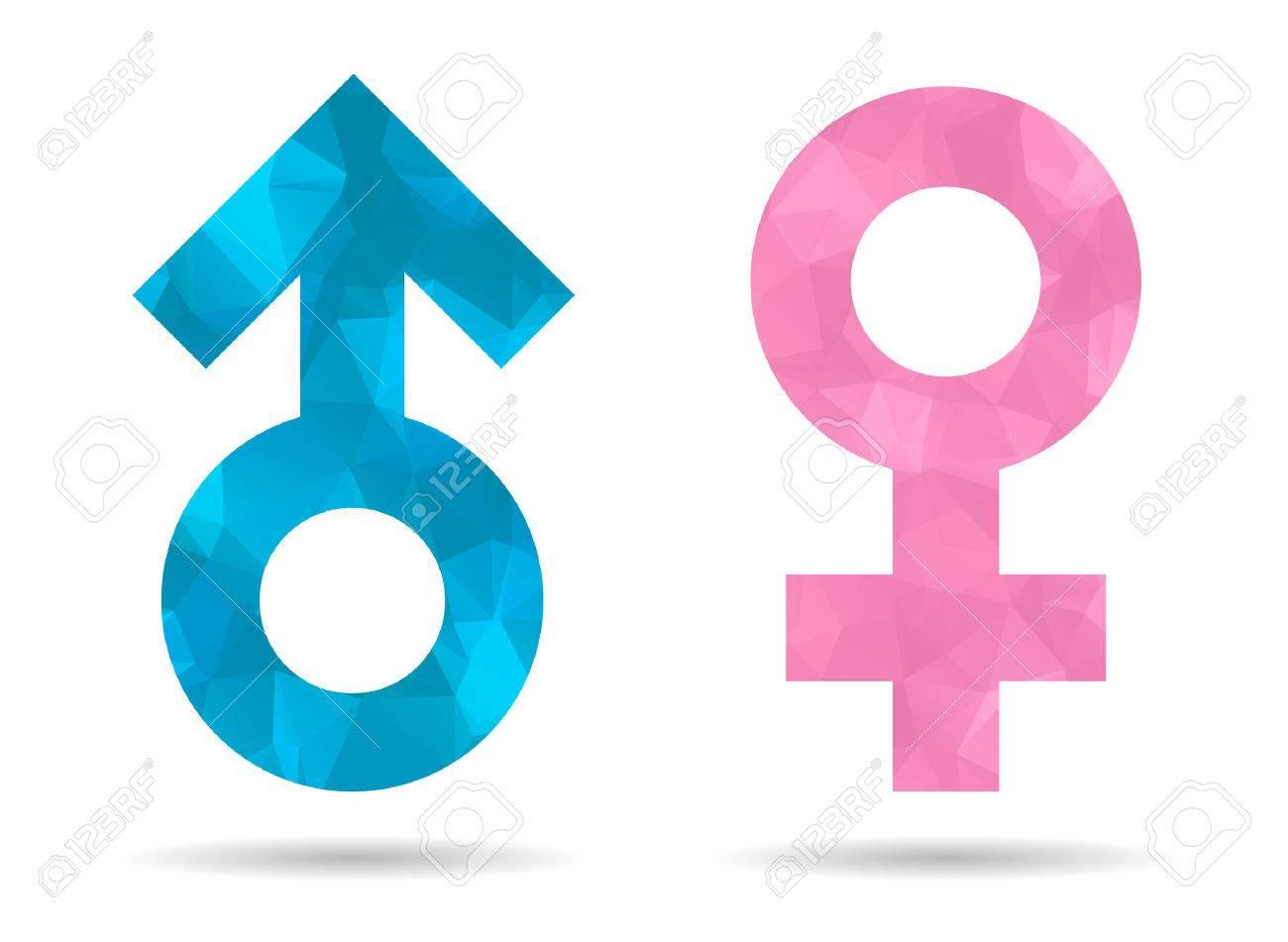 Baja Poli Hombre Y La Mujer Símbolo Ilustraciones Vectoriales Clip