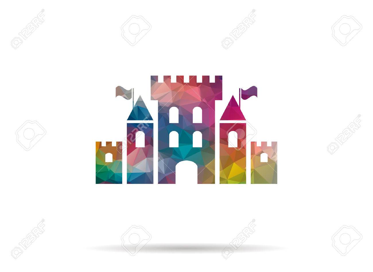 low poly castle icon - 45477101