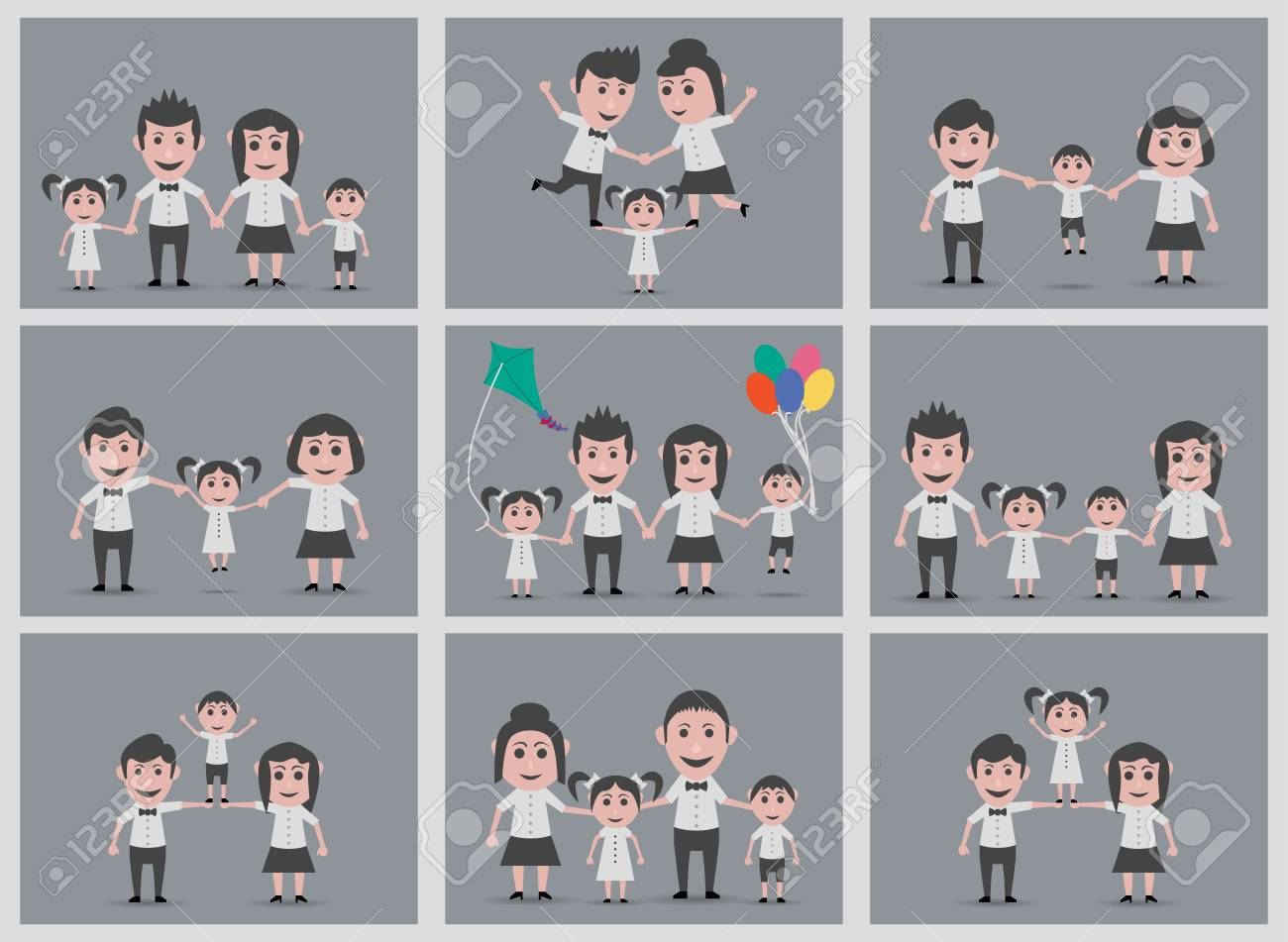 set of 9 family backgrounds royalty free cliparts vectors and