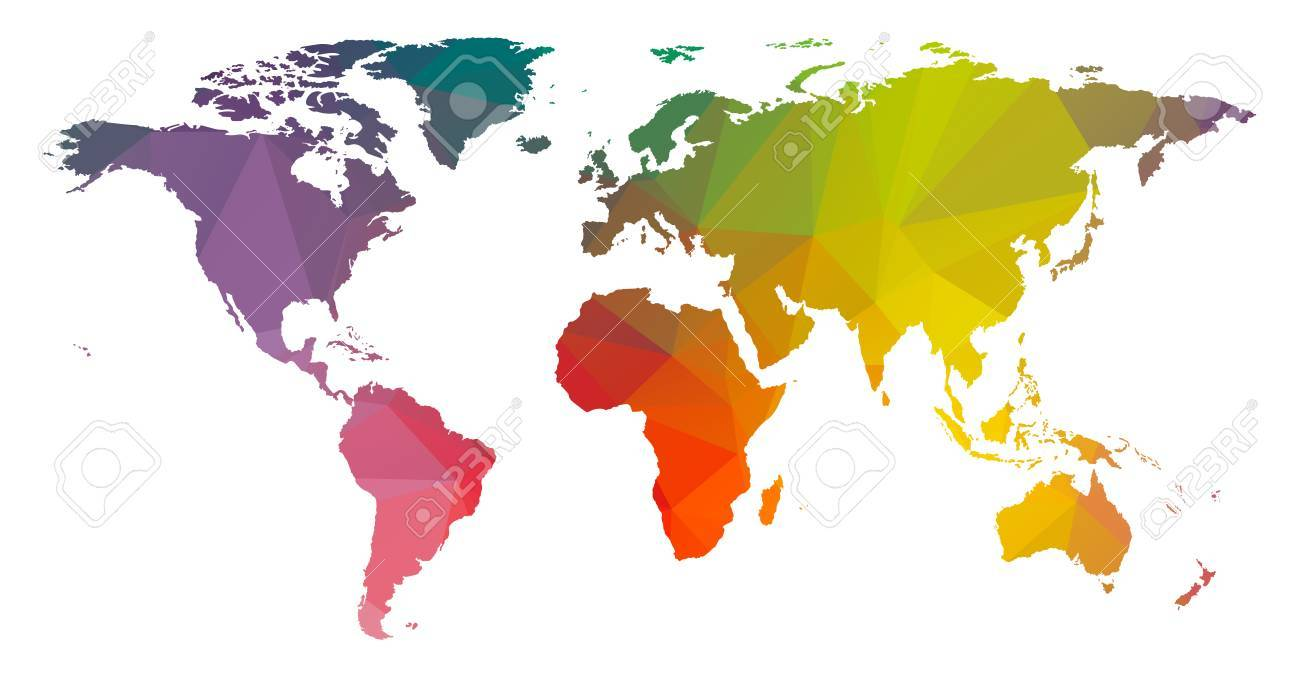 Low Poly Colorful World Map Stock Vector   61610946