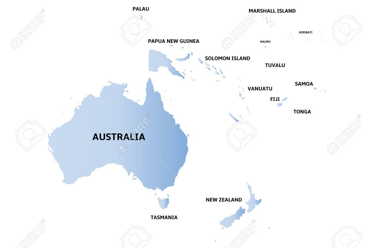 Blue Map Of Oceania Royalty Free Cliparts, Vectors, And Stock ...