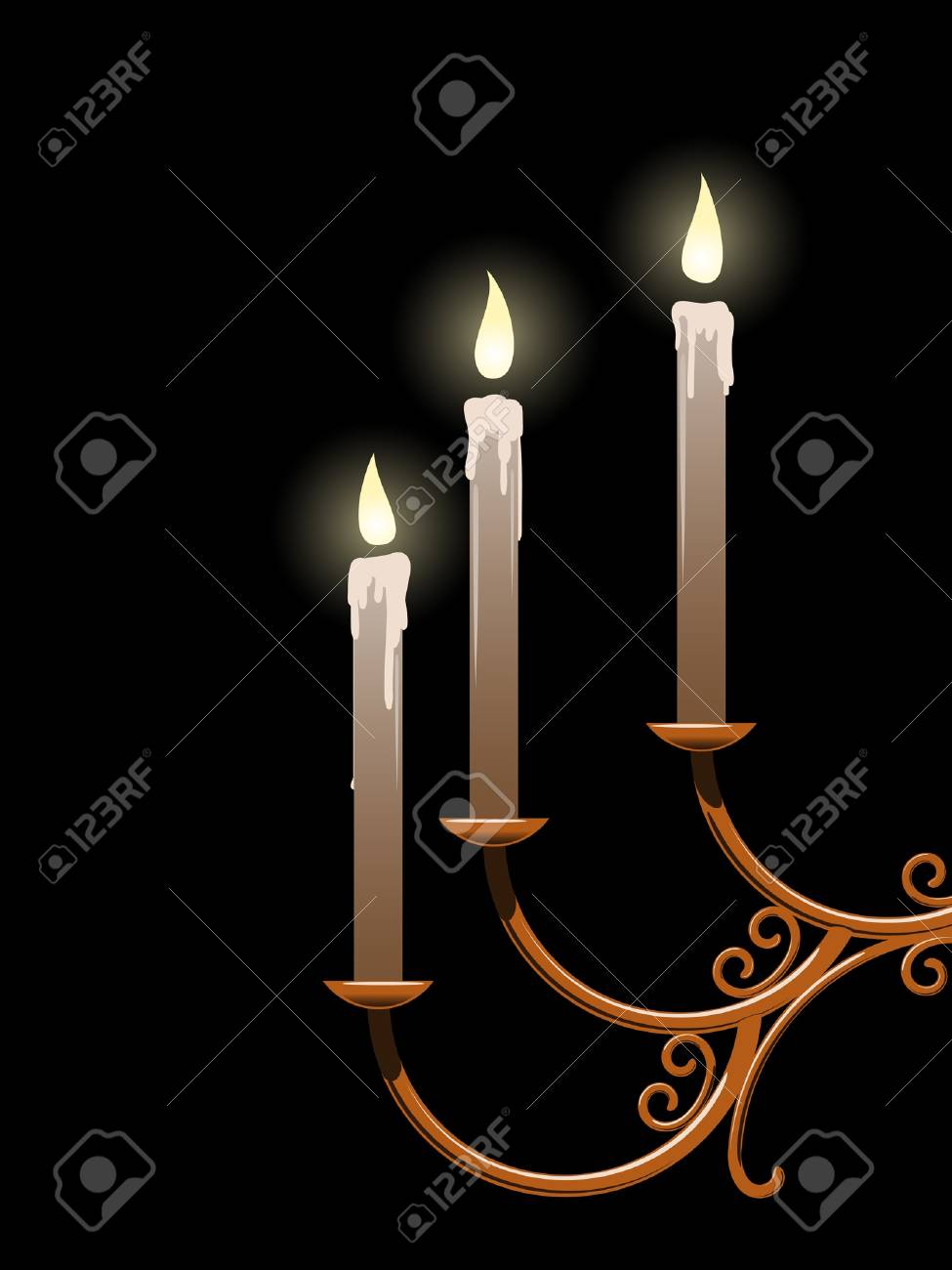 Three candles in a forged candlestick burn in the dark Stock Vector - 19024784