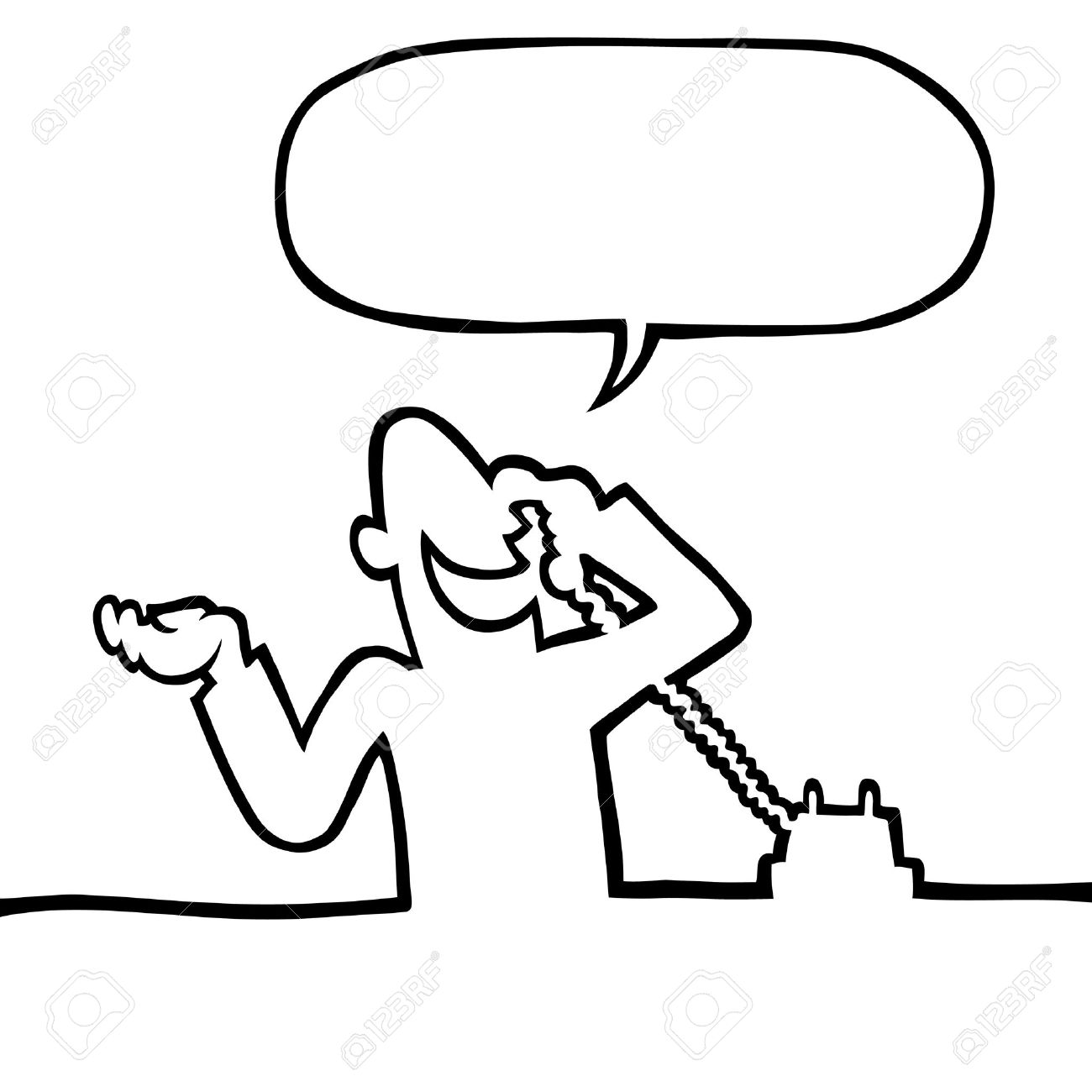 Black and white line drawing of a person having a conversation on the phone. Stock Vector - 7863566