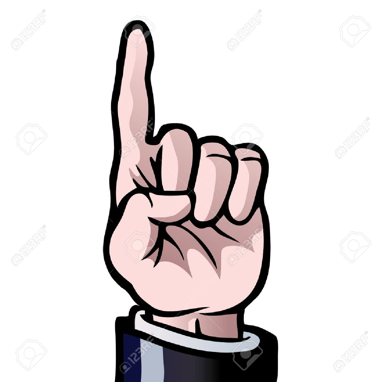 A hand with his index finger held up, showing the number 'one'. Stock Vector - 7863567