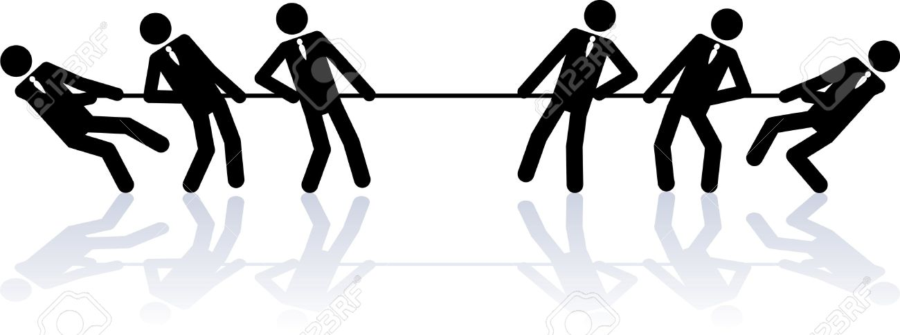 Two teams of business people (stick figures) are competing in a rope pulling contest. Stock Vector - 7863594