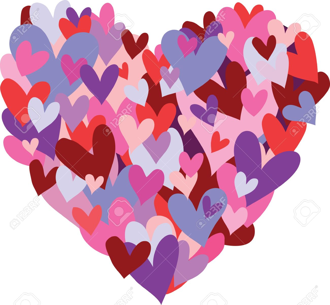 A heart symbol made up of smaller hearts in the colors red purple a heart symbol made up of smaller hearts in the colors red purple pink biocorpaavc