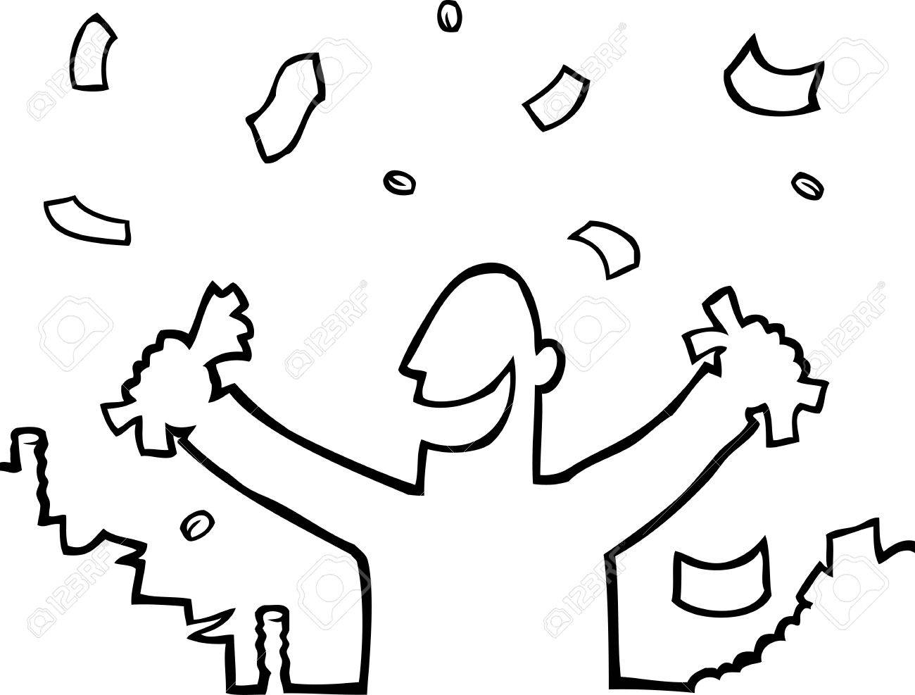 Happy person with lots of money Stock Vector - 9442158