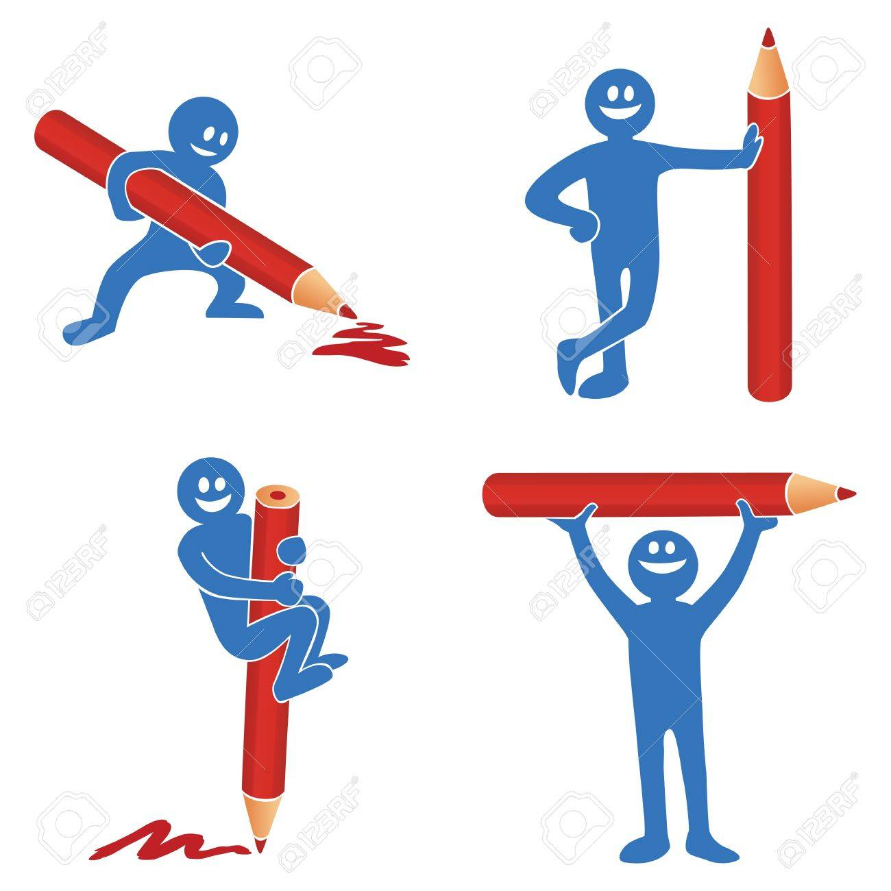 Blue stick figure with red pencil Stock Vector - 11272148