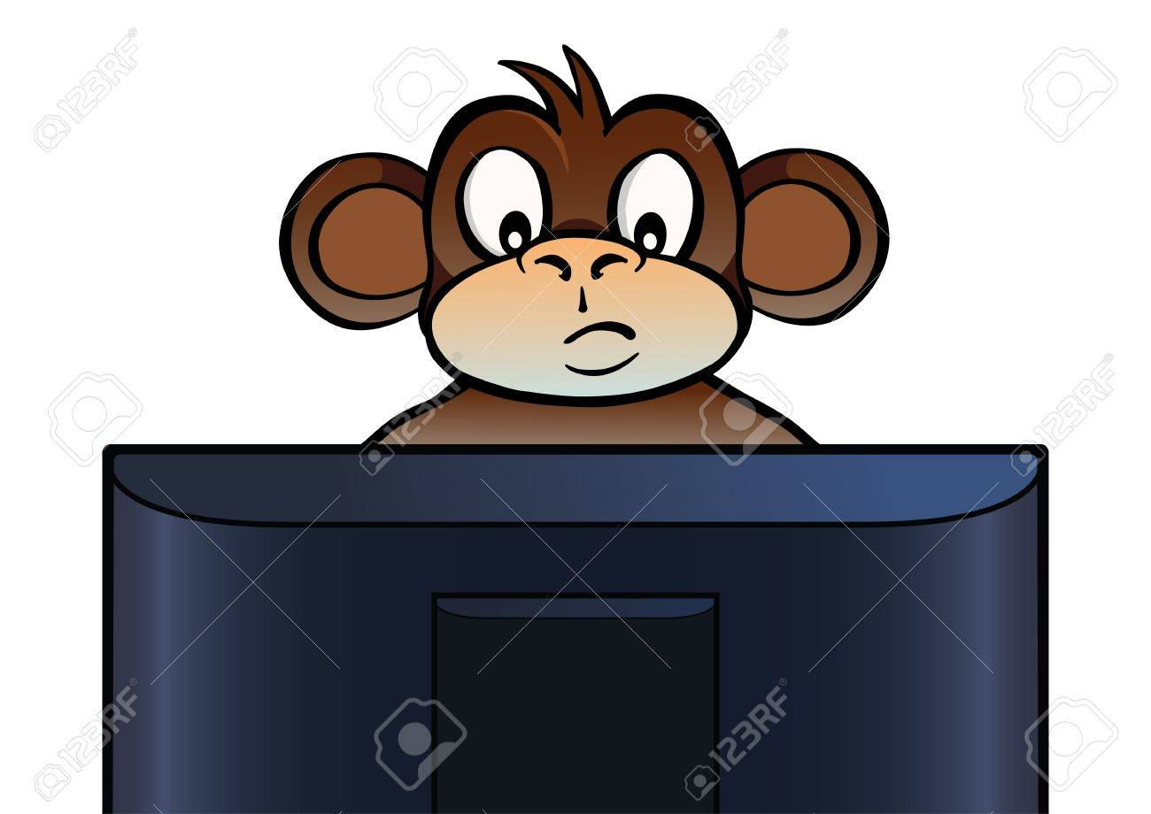 Monkey behind screen Stock Vector - 11893334