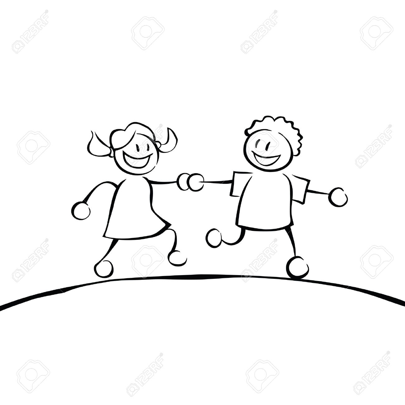 two black and white kids holding hands and running on a hill