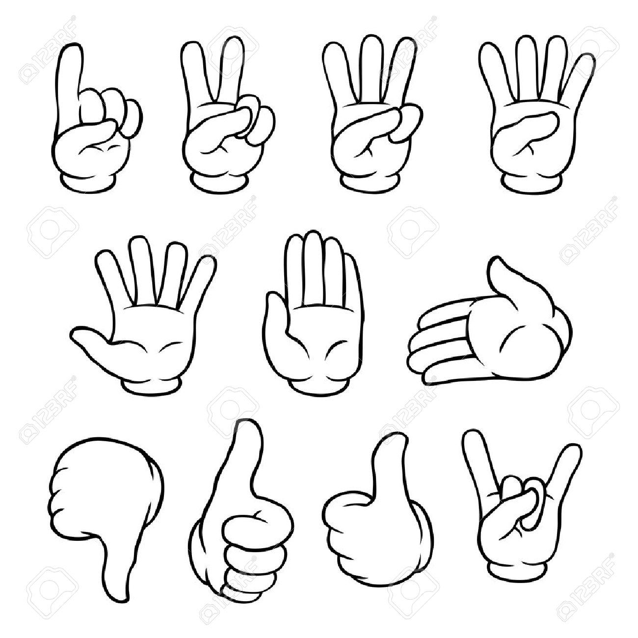 set of black and white cartoon hands showing various gestures royalty free cliparts vectors and stock illustration image 22772719 set of black and white cartoon hands showing various gestures