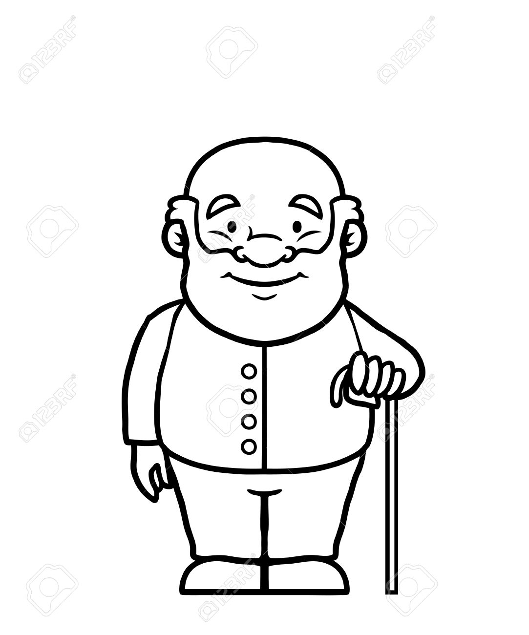 Black and white old man holding a cane and smiling stock vector 23476044