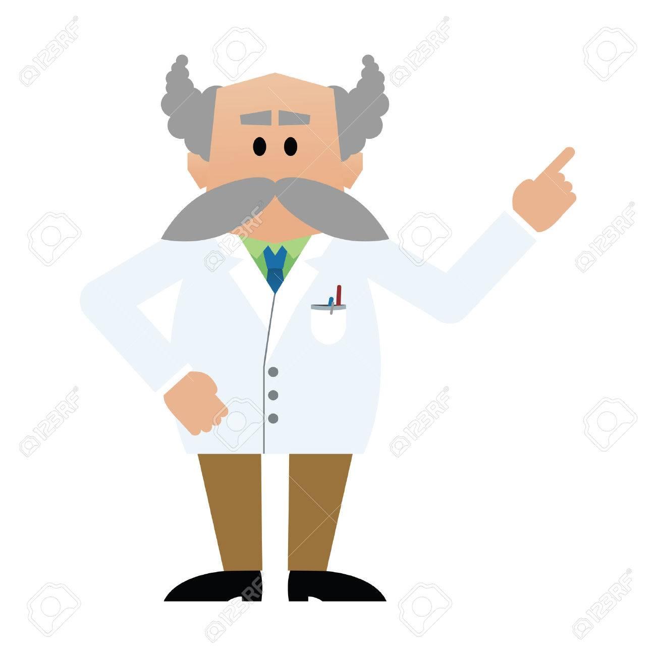 Cartoon professor with moustache - 39554205