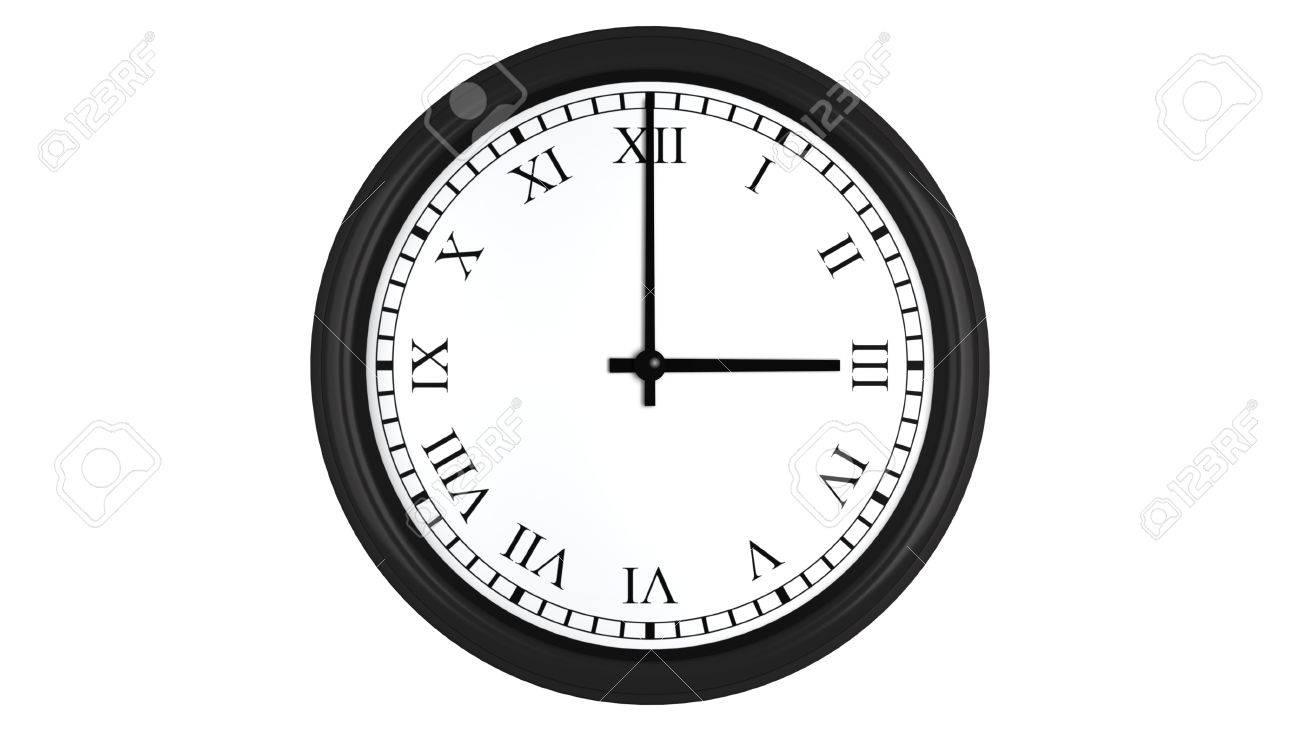 Realistic 3d Render Of A Wall Clock With Roman Numerals Set At - 3-roman-numerals-clocks