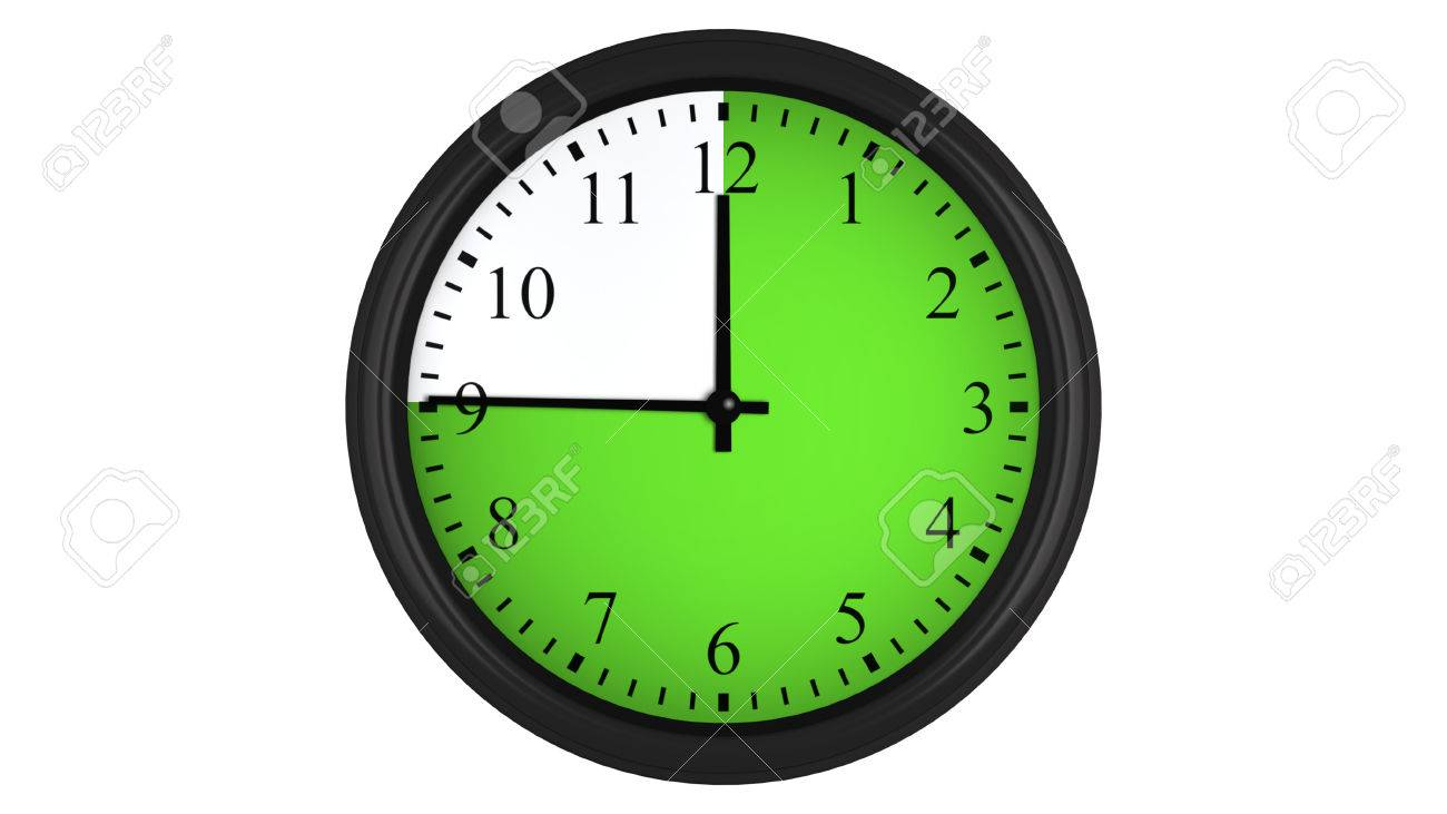 Wall clock showing a 45 minutes green time interval, isolated