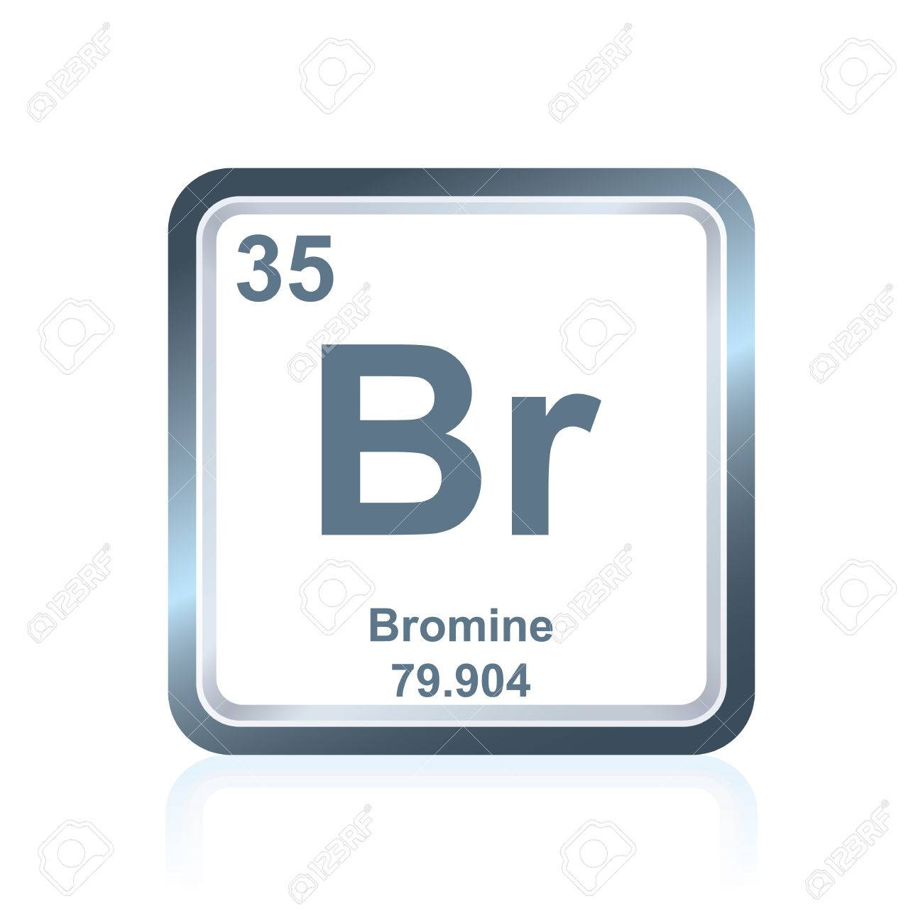 Symbol Of Chemical Element Bromium As Seen On The Periodic Table