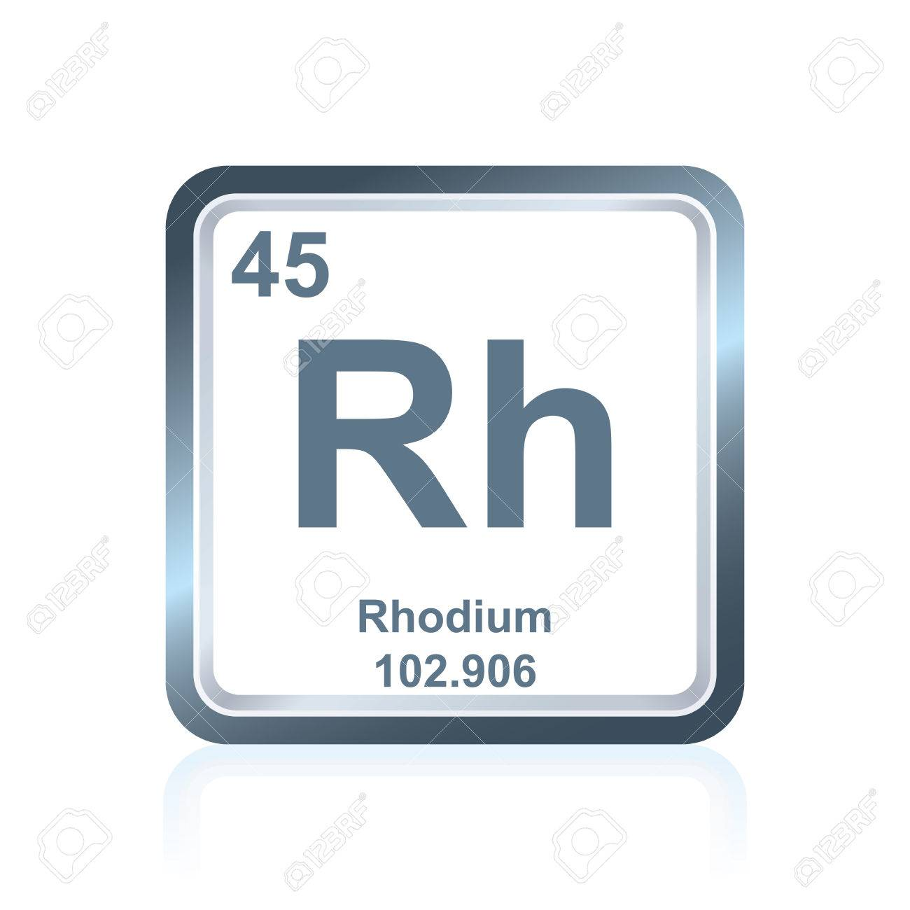 Symbol Of Chemical Element Rhodium As Seen On The Periodic Table