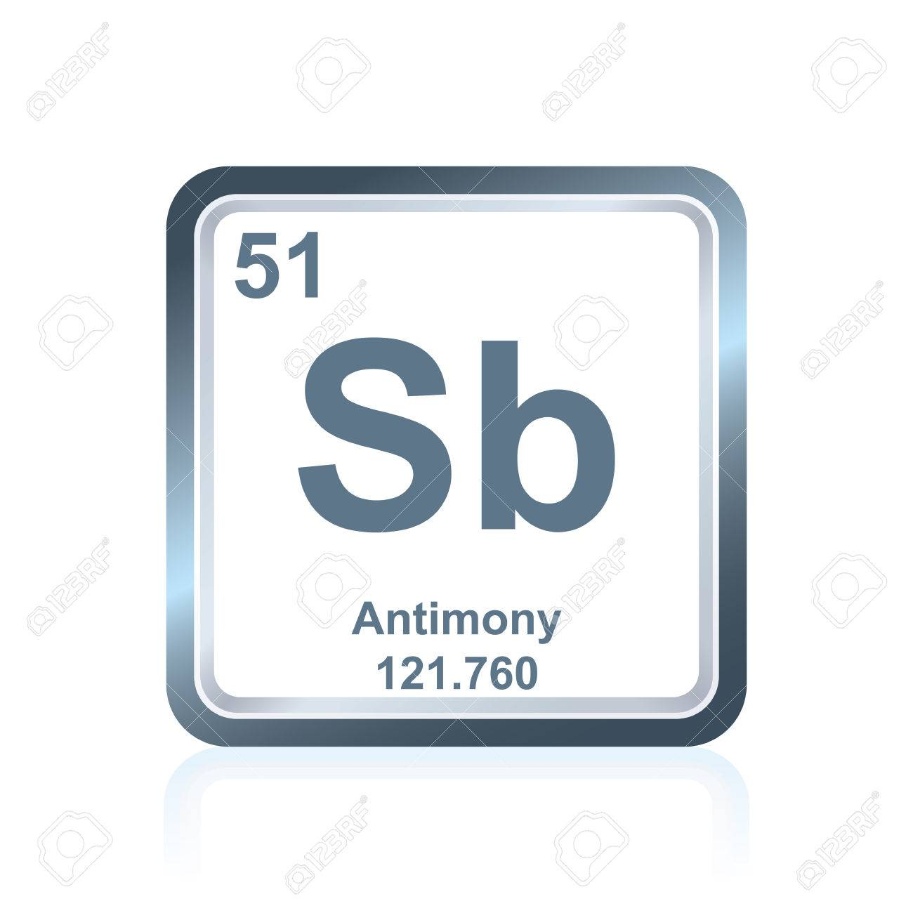Symbol Of Chemical Element Antimony As Seen On The Periodic Table