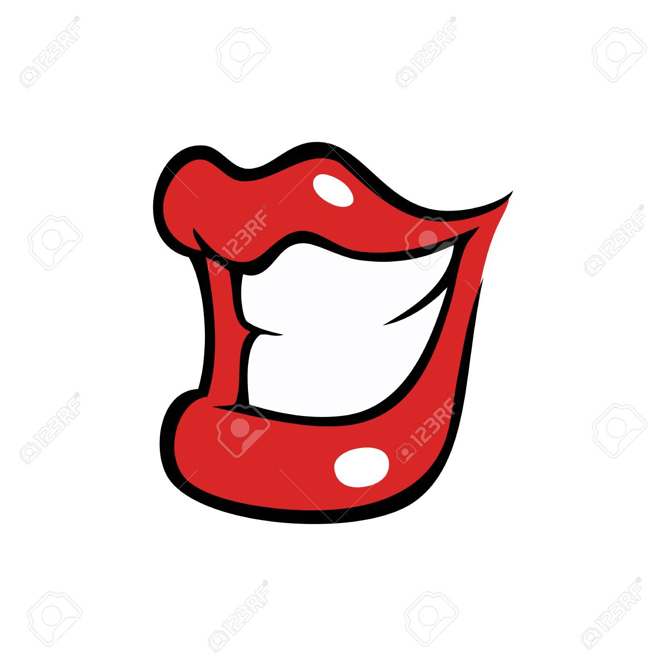 grinning female mouth with red lips in cartoon style royalty free rh 123rf com Vector Face Tongue Vector