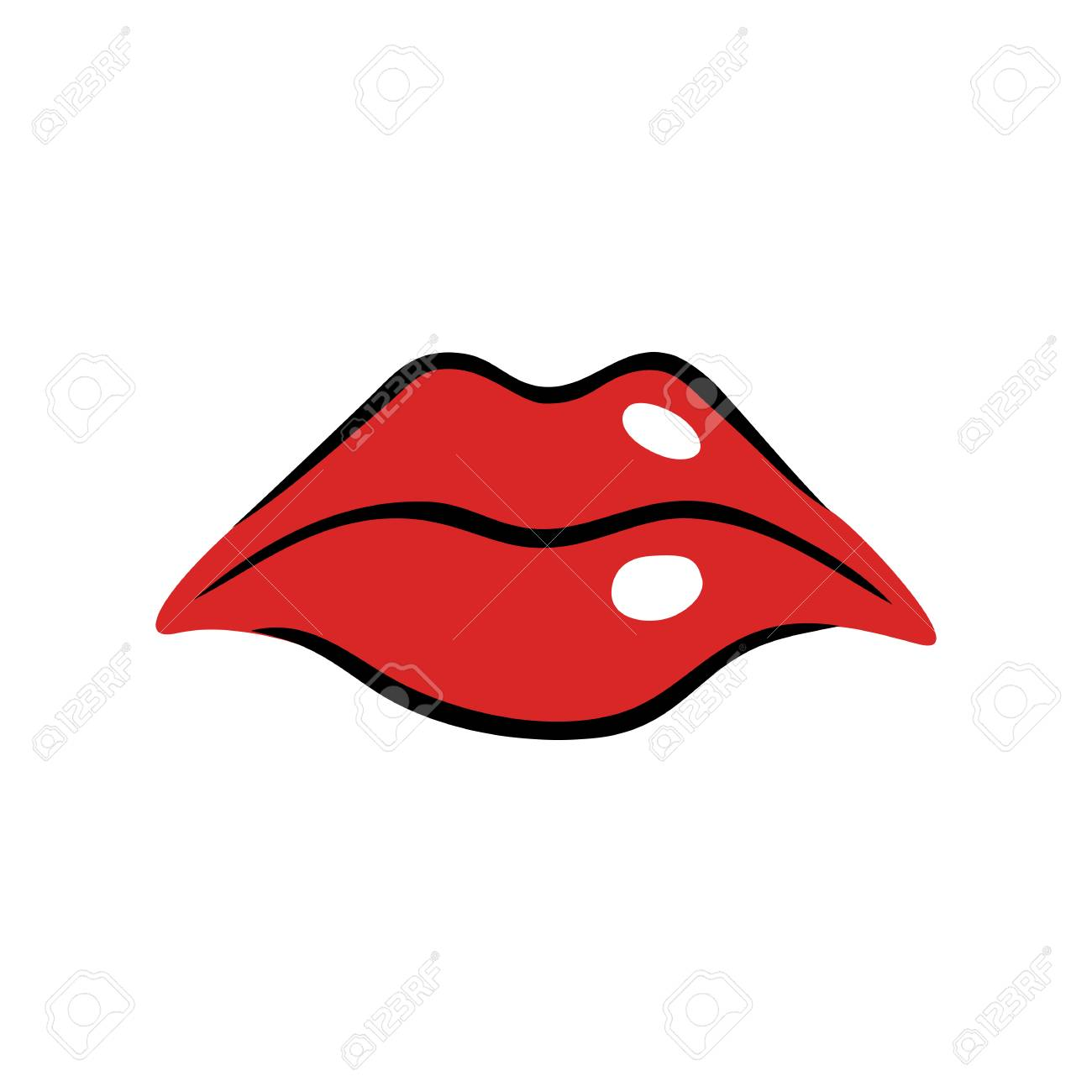 sad female mouth with red lips in cartoon style royalty free rh 123rf com Cartoon Mouth Vector Nose Vector