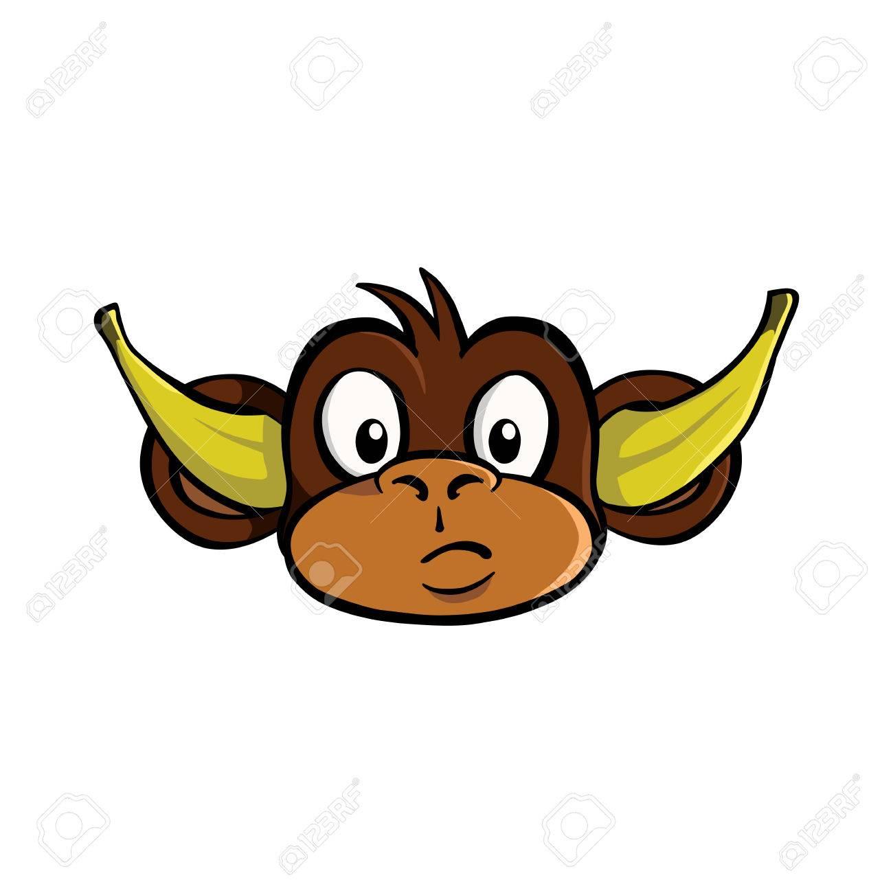 Höre Keinen Bösen Affen Mit Bananen In Seinen Ohren Lizenzfrei ...