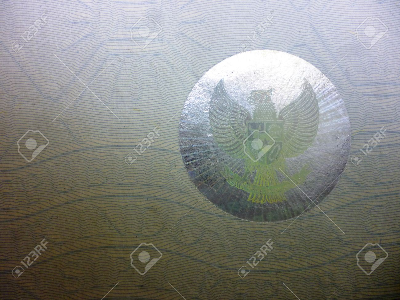 Garuda Pancasila Symbol On A Paper Hologram In Indonesia Country