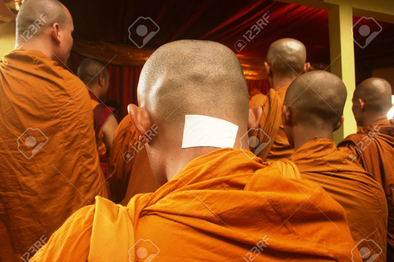 Buddhist prayer procession in the holy water when taking Jumprit
