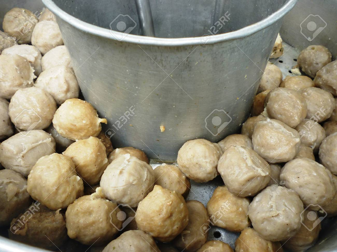 Macro Image Of Meatballs From Malang, East Java, Indonesia Stock ...