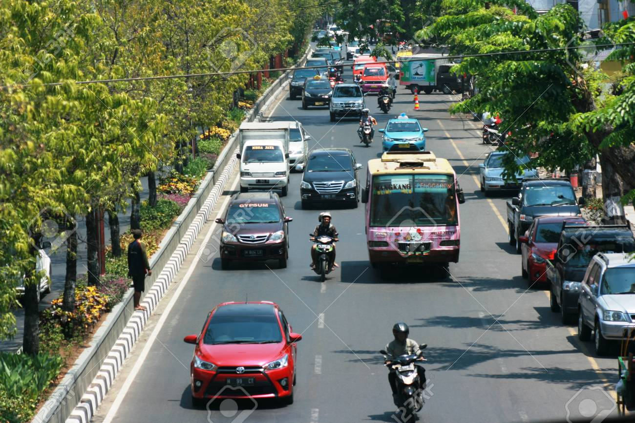 Traffic jam Cars Urban scene in semarang , central java, indonesia