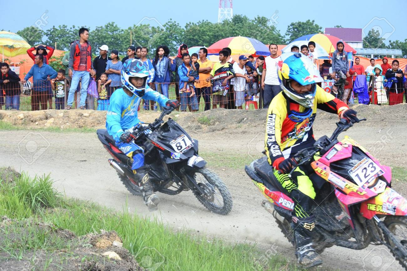 Grasstrack Motocross Race In Indonesia Stock Photo Picture And