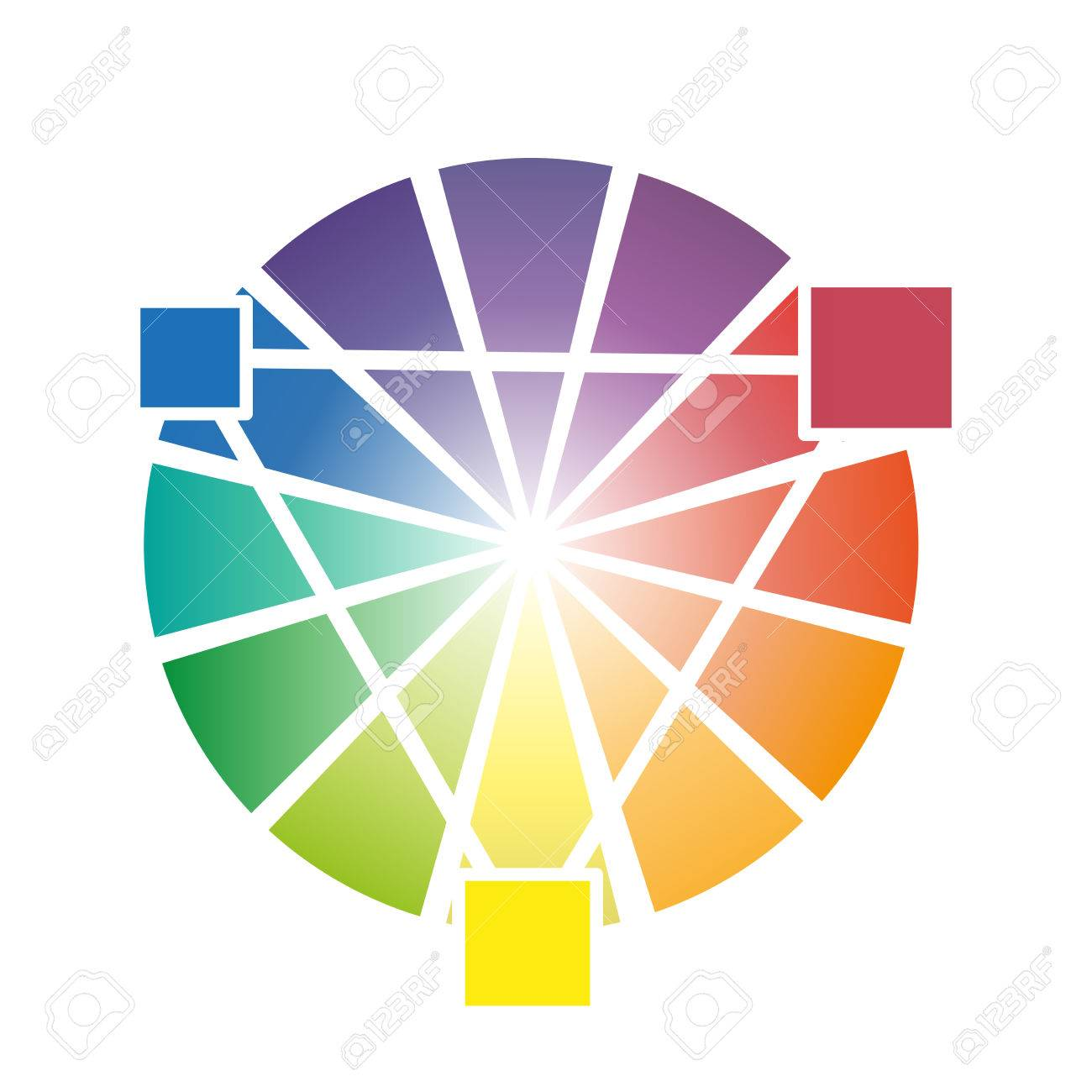 Color Wheel With Three Secondary Colors Vector Illustration Stock