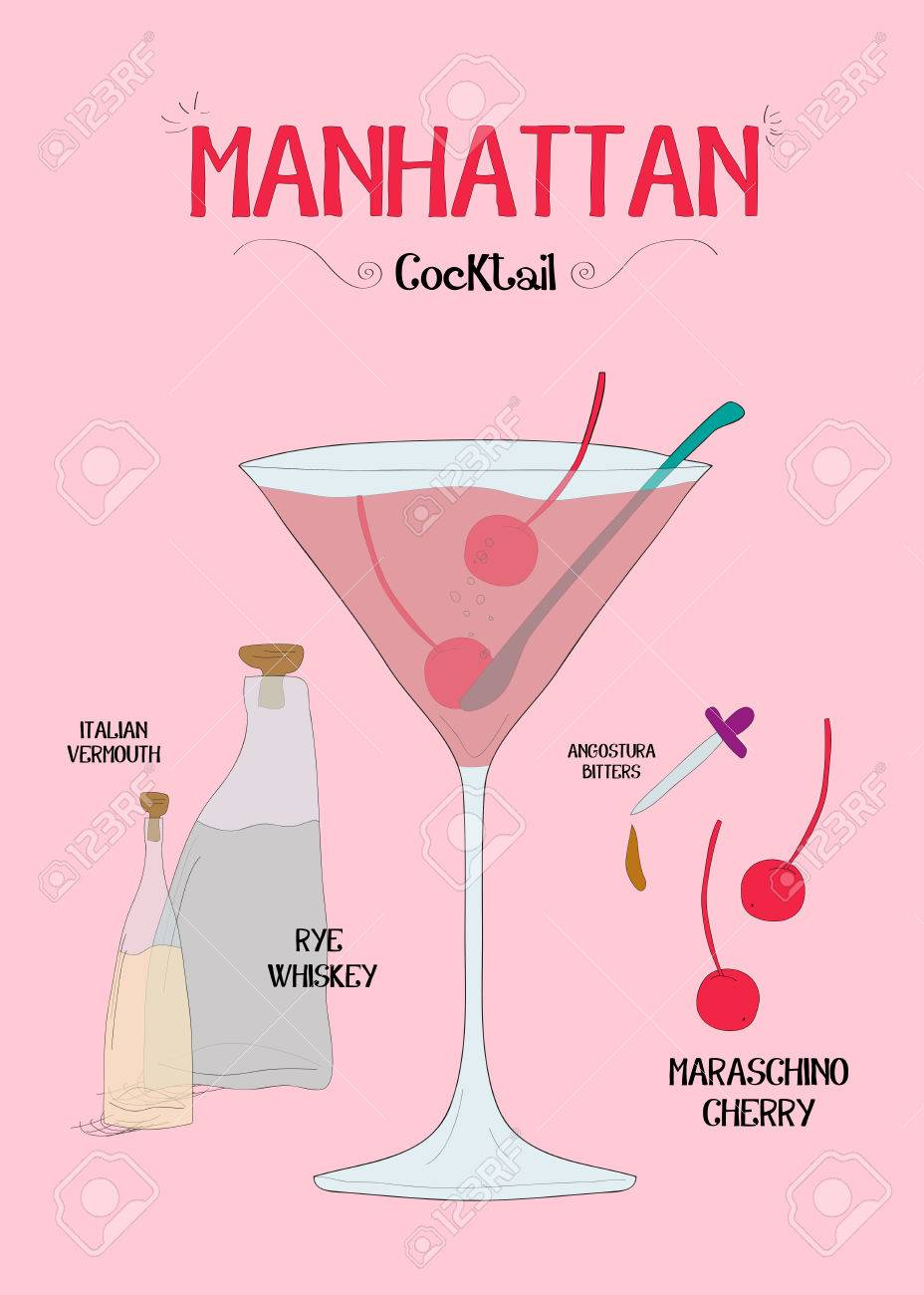 How To Make A Manhattan Cocktail With Ingredients Royalty Free Cliparts Vectors And Stock Illustration Image 60316033