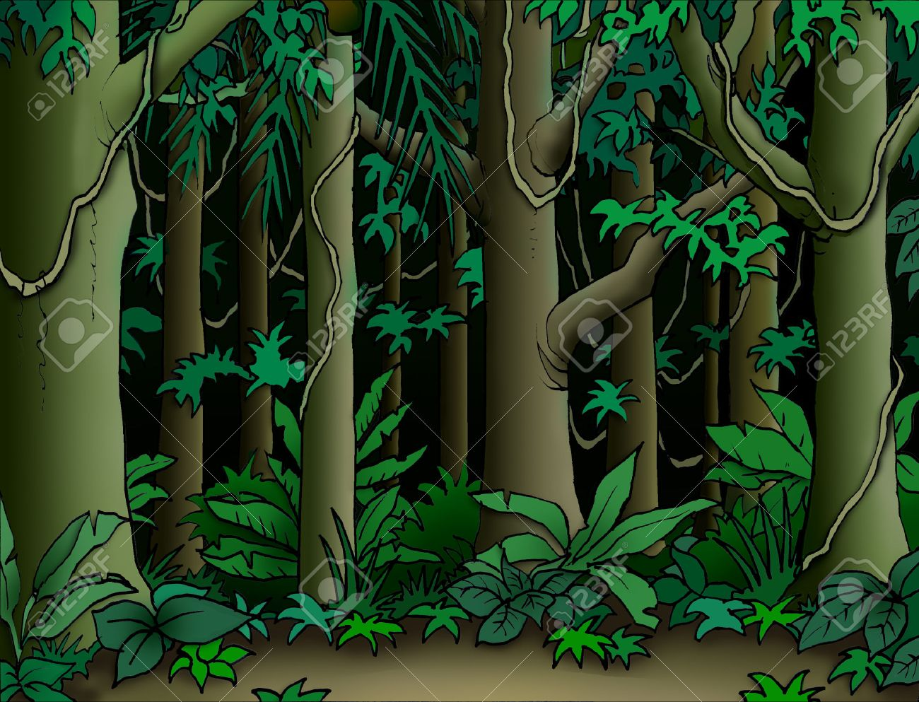 cartoon jungle background stock photo picture and royalty free rh 123rf com Jungle Background Clip Art Jungle Background Scenes