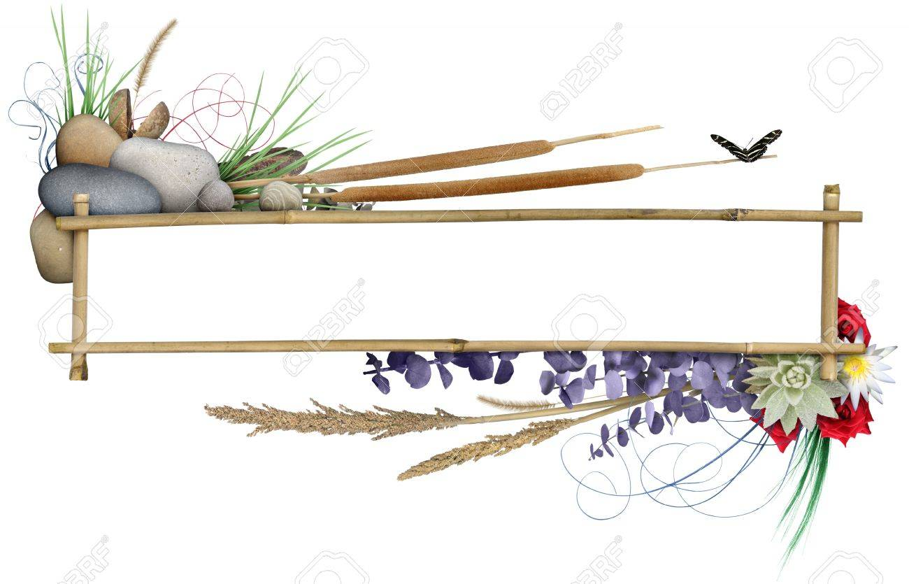 Elementos Naturales Dispuestos Alrededor De Un Marco De Bambú, Con ...