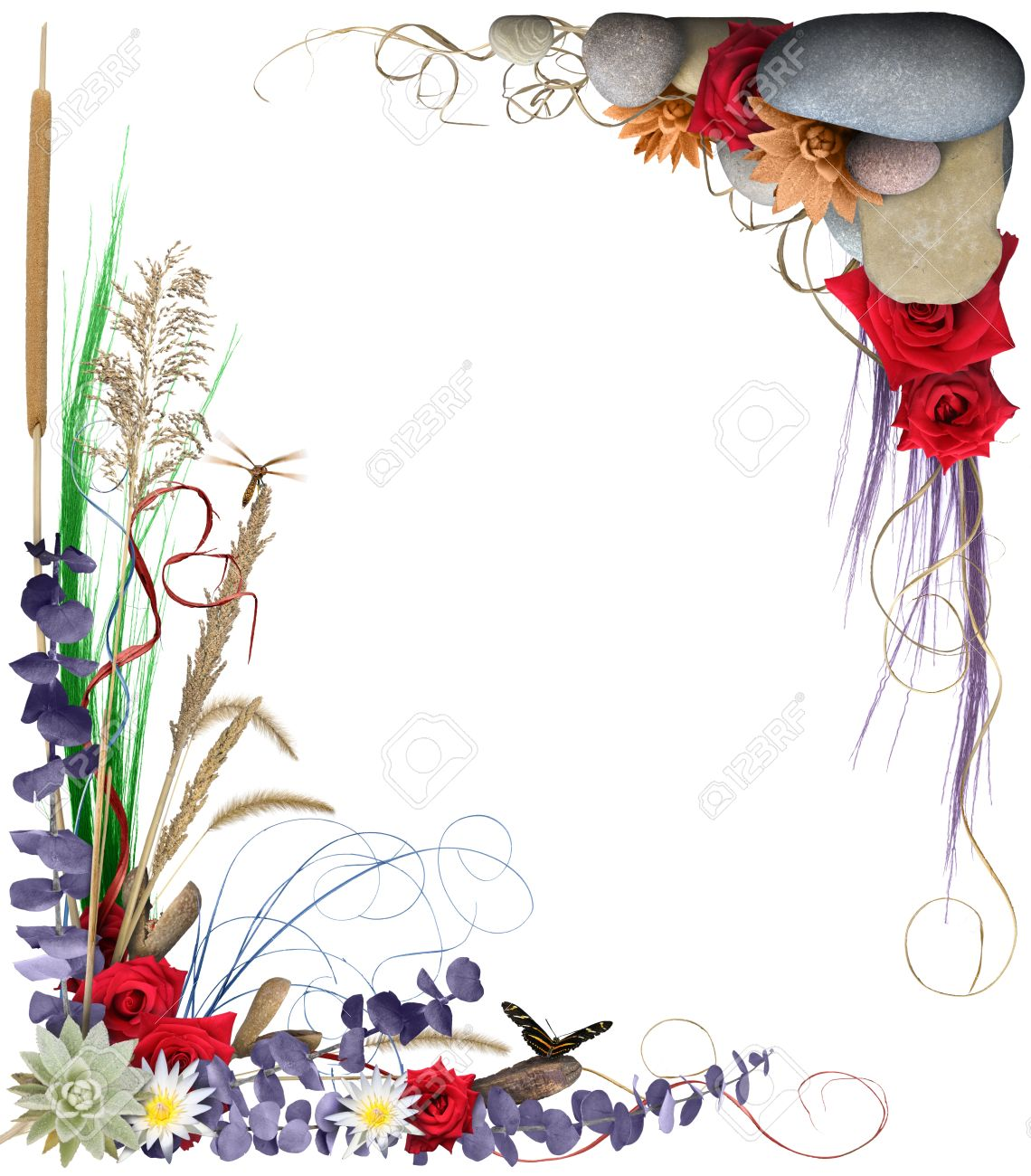 A Colorful Floral Arrangement Forming A Border Frame Isolated ...